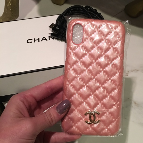 innovative design bca07 a73c0 New iPhone X/XS Case and Charging Cord Chanel Pink